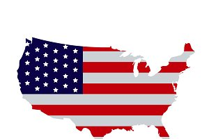 American flag on the USA map