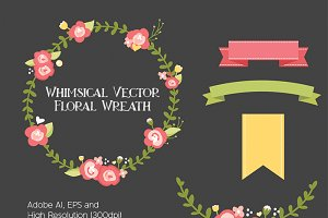 Whimsical Vector Floral Wreath