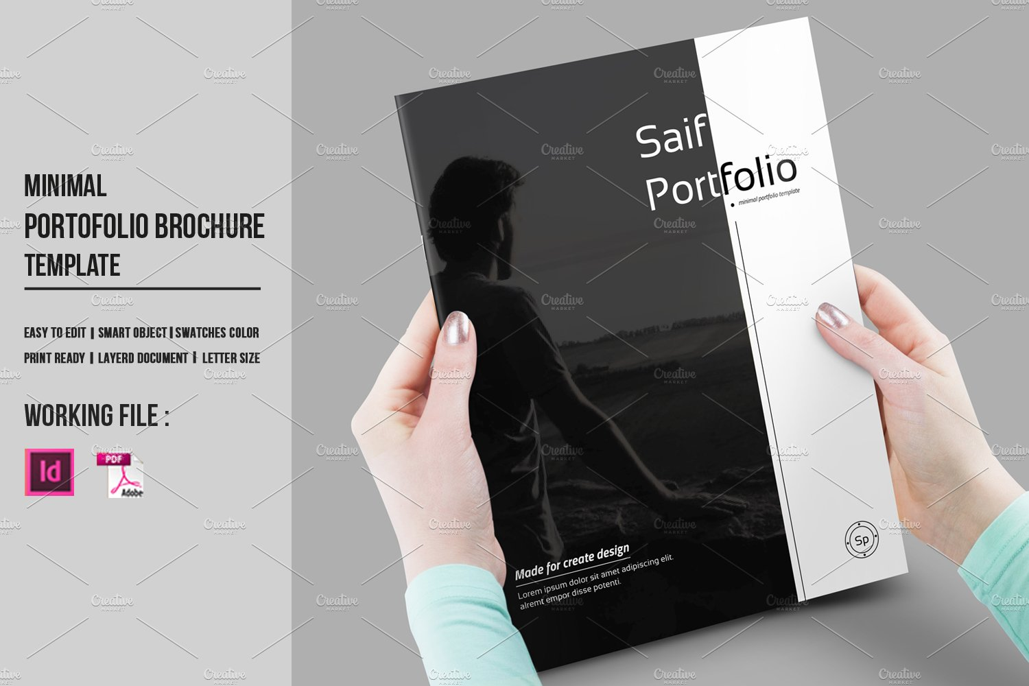 Indesign portfolio brochure v430 brochure templates for Graphic designer portfolio template free download