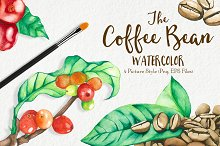 Watercolor Coffee Bean