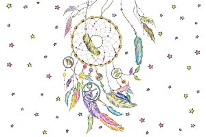 Dream catcher with sea items