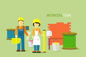 Workers Team People Group Flat Style