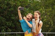 Best girlfriends. Photo phone selfie