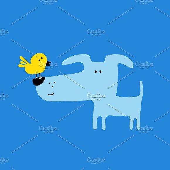Dog and Baby bird