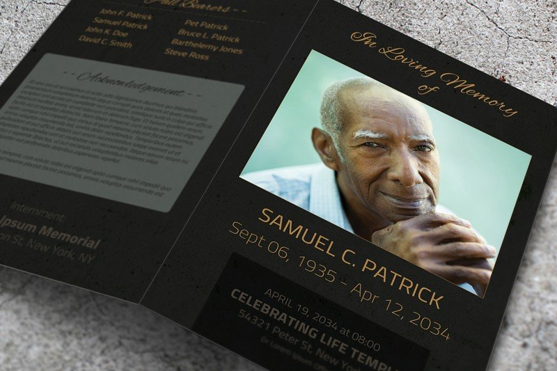 Dark Funeral Program Template Word Brochure Templates Creative - Funeral program template word