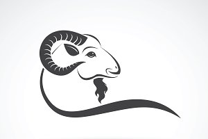 Vector image of an goat head design