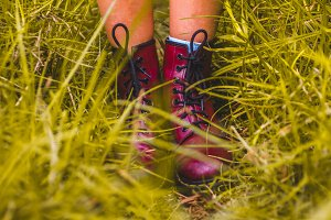 Shoes in wet grass