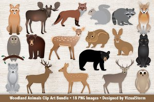 Woodland Animals Clip Art Bundle