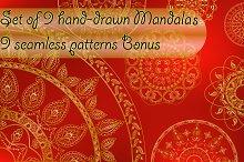 Set of 9 vector mandalas + bonus