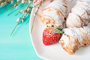 Croissants with icing sugar
