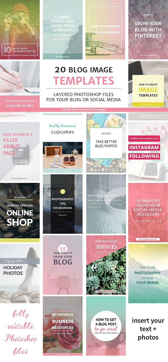 20 Blog Post And Instagram Templates Pinterest Templates