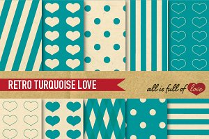 Blue Turquoise Retro Backgrounds Set