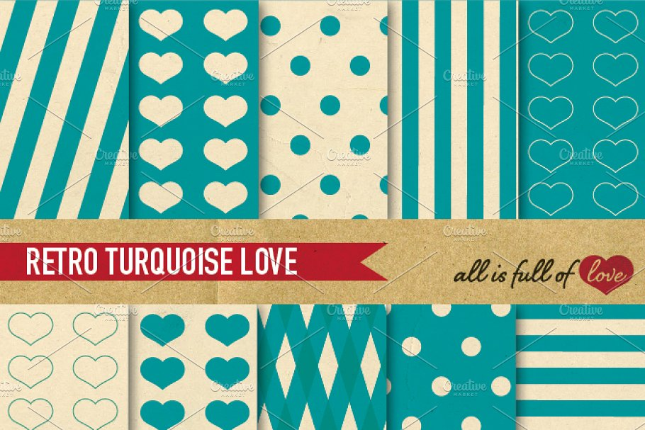 Blue Turquoise Retro Backgrounds Set Graphic Patterns Creative