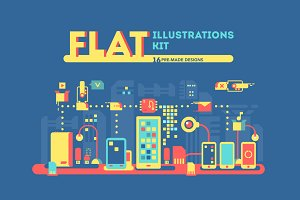 Flat illustrations kit