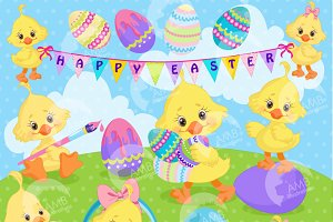 Easter Chicks Clipart, AMB-1200