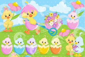 Easter Chicks Clipart, AMB-1201