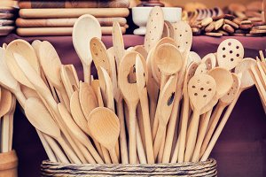 Handmade wooden kitchen utensils