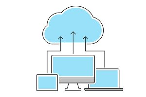 Cloud computing icons line concept