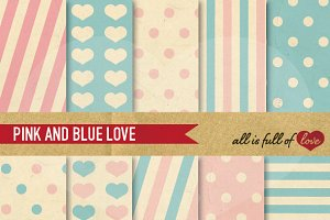 Light Blue & Pink Vintage Background