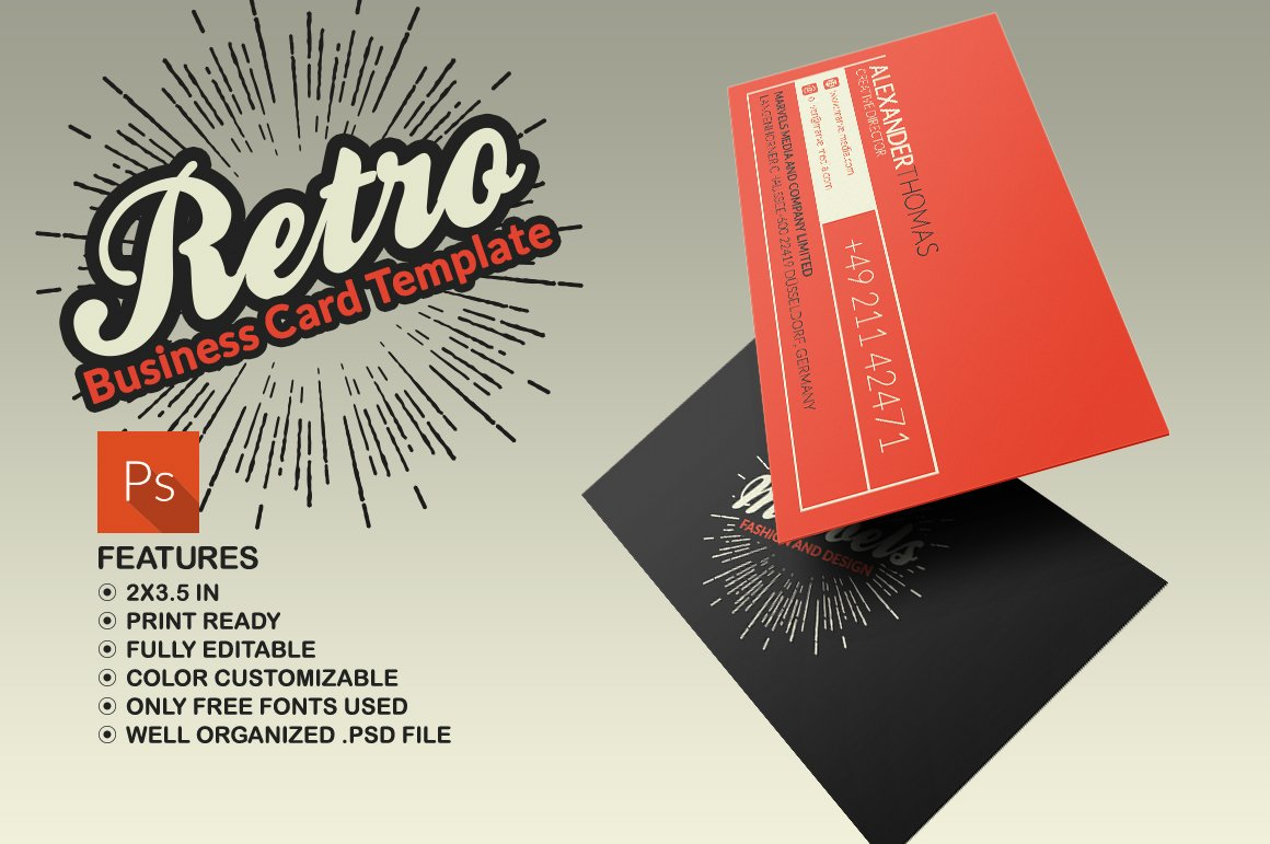 Retro Business Card ~ Business Card Templates ~ Creative Market
