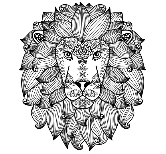 Lion Head With Ethnic Floral Pattern Graphics Creative