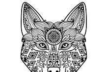 Hand drawn floral decor wolf head