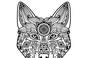 Hand drawn floral decor wolf head