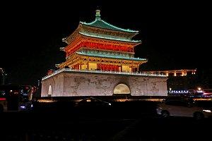 Bell tower at night, Xian China