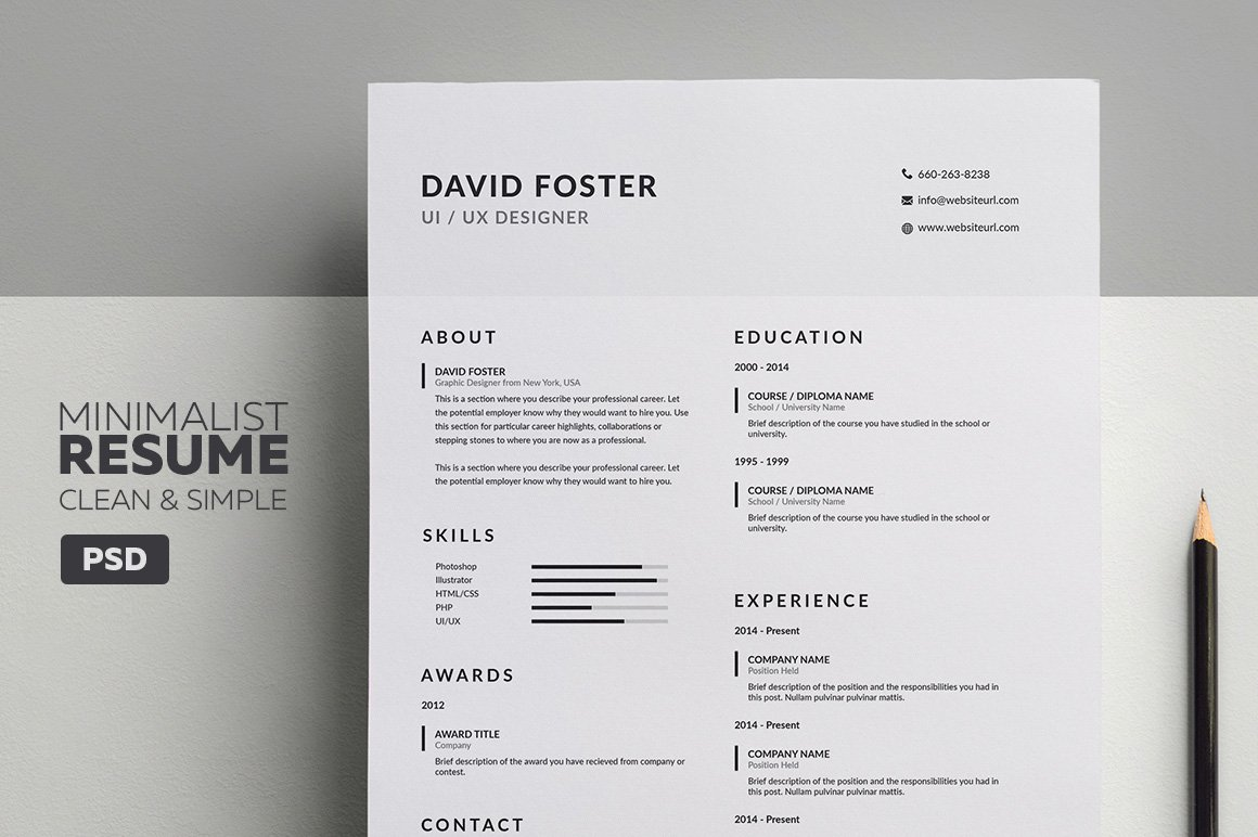 Minimalist Resume/CV - David ~ Resume Templates ~ Creative Market