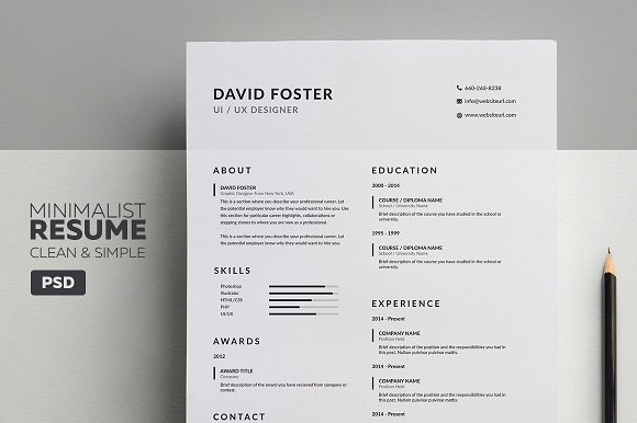 minimalist resumecv david resume templates creative market