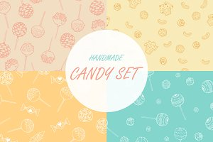 Candy Hand Drawn Seamless Patterns