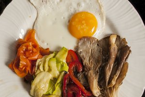Eggs and grilled vegetables