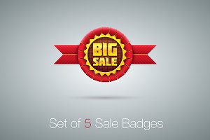Red Sale Badges Set