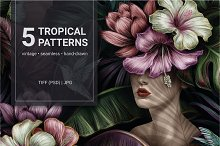 Tropical Vintage Patterns Set by  in Graphics