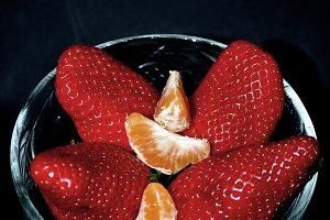 orange and strawberries in harmony