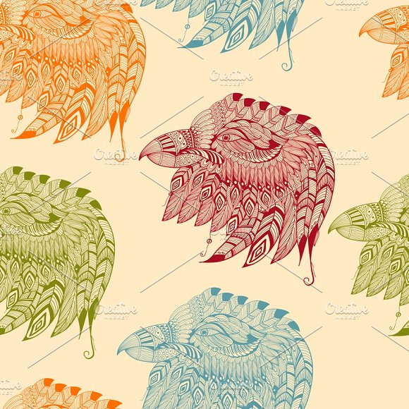 Vector Seamless Pattern with Eagles