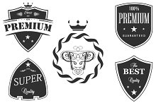 Set premium quality signs, emblems