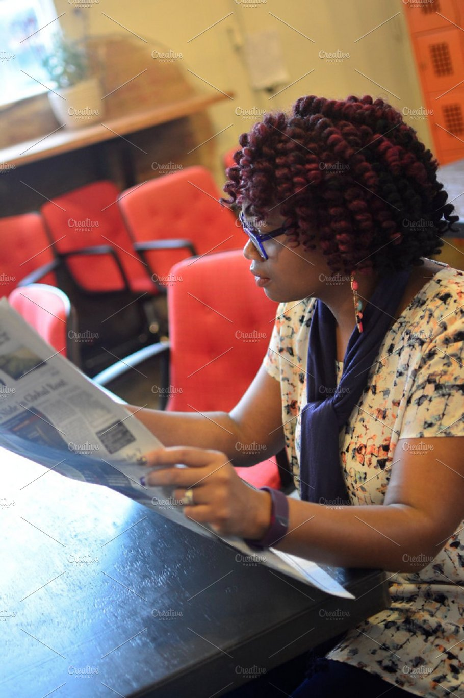 black woman reading a newspaper ~ business images ~ creative market