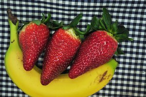 strawberries on banana