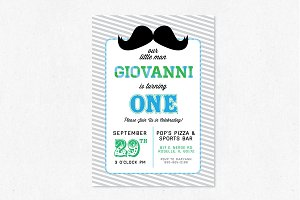 Moustache Party Invite