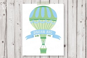 Hot air balloons dream big print art