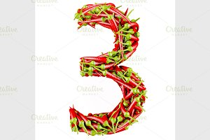 Number made from red pepper