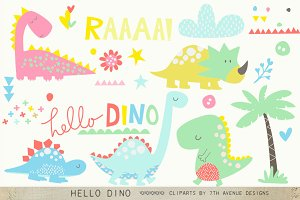 Hello Dino Cliparts
