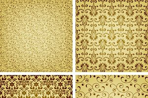 vector seamless golden patterns