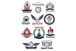Volleyball game sport emblems