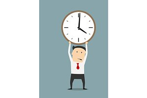 Businessman holding clock over head