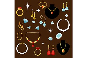 Jewelleries and gemstones flat icons
