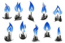Industrial chemical plant icons