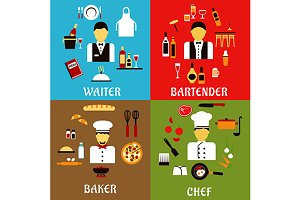 Chef, baker, waiter and bartender