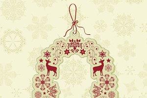 Vector Christmas Tag on Seamless Pat
